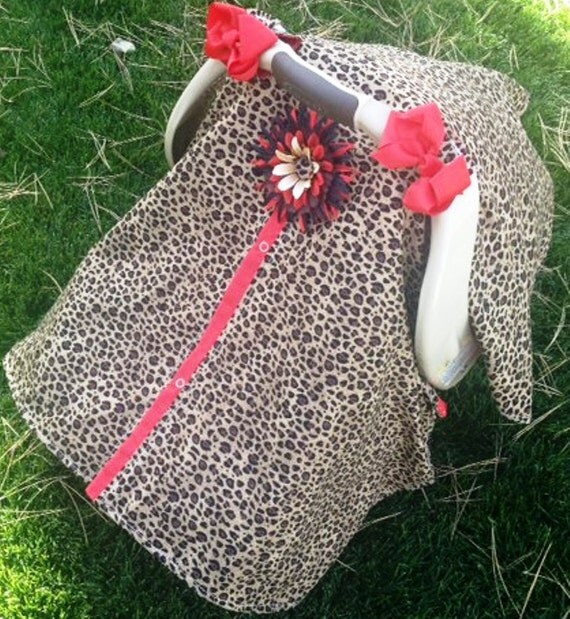 Carseat canopy FREE SHIPPING cheetah and red / car seat cover / nursing cover / carseat canopy / carseat cover