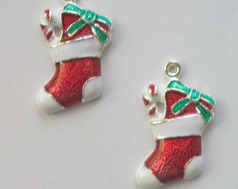 5 Enamel Christmas charms STOCKING Charms jewelry findings