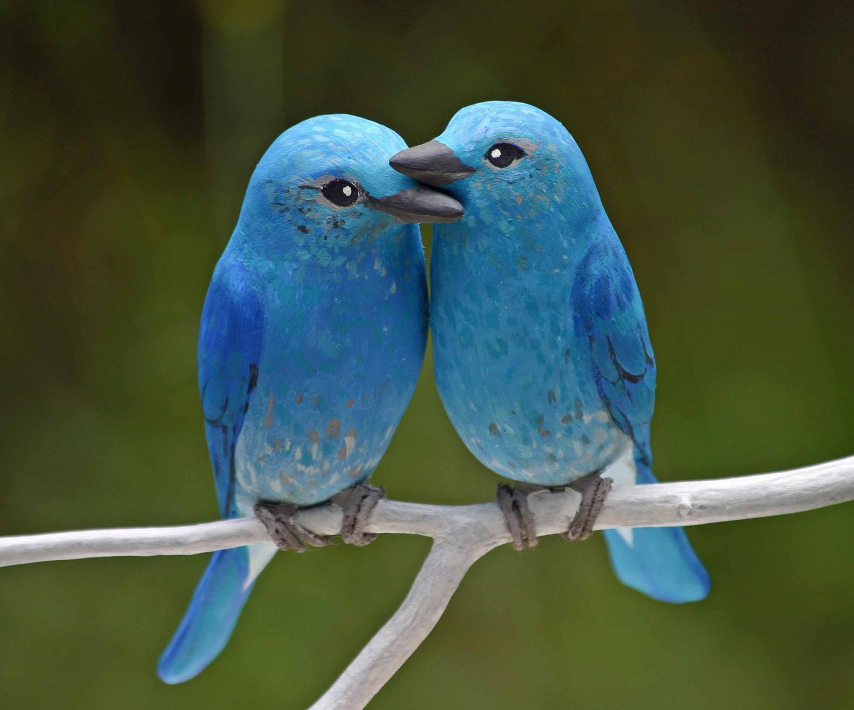 Mountain Bluebird Love Birds handmade wedding cake topper