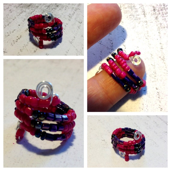"Ring for fingers or toes - Beaded - Adjustable - Hot Pink and Purple - ""Woke Me Up Again"" Sterling Silver Wire"