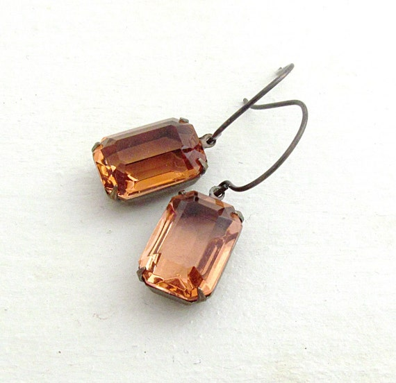 Peach Rhinestone Earrings Vintage Glass Jewels Emerald Cut Earrings Estate Jewelry Bridal Earrings Hollywood Glam - Lara