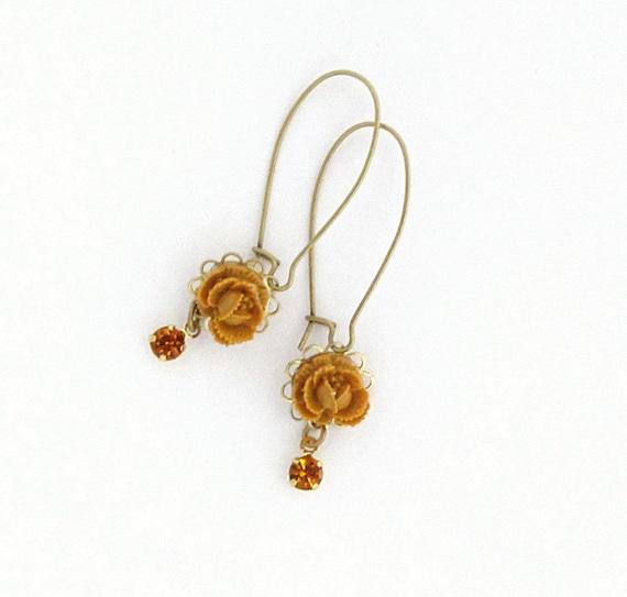 RESERVED Yellow Flower Earrings Golden Flower Earrings Rhinestone Earrings Dangle Earrings Topaz Mustard Citrine Silk Road - Harvest Sparkle