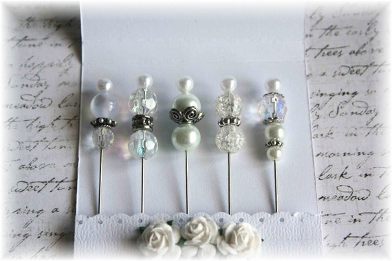 Mini Matchbook Stick Pins Shabby White for Scrapbooking or Cardmaking