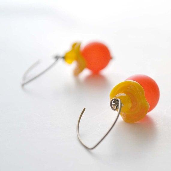 Orange Earrings,  Lampwork Glass Earrings, Glass Earrings, Yellow Ruffle Earrings
