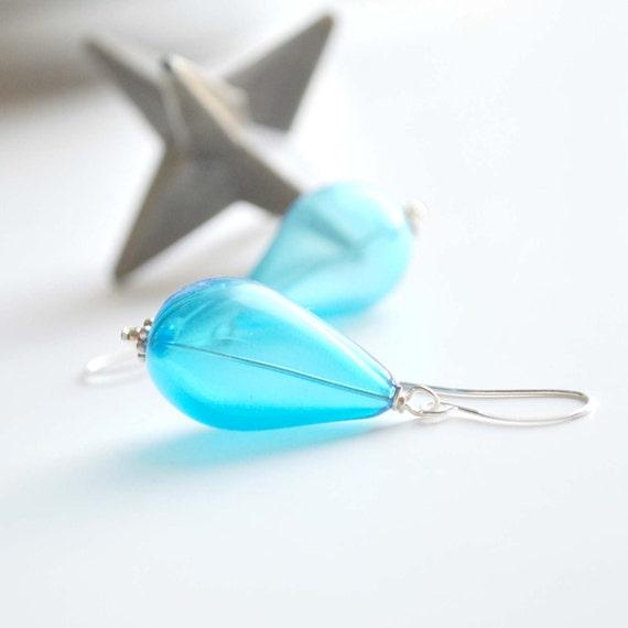 Aqua Blue Glass Teardrop Earrings