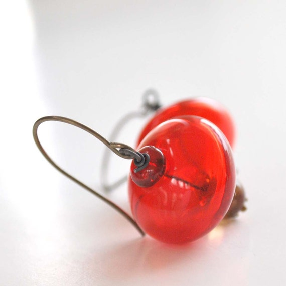 Christmas Earrings, Red Hollow Glass Earrings