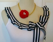 Embellished Tank Top with Fun Nautical Sailor Navy and White Box Pleat Ruffle and Bow