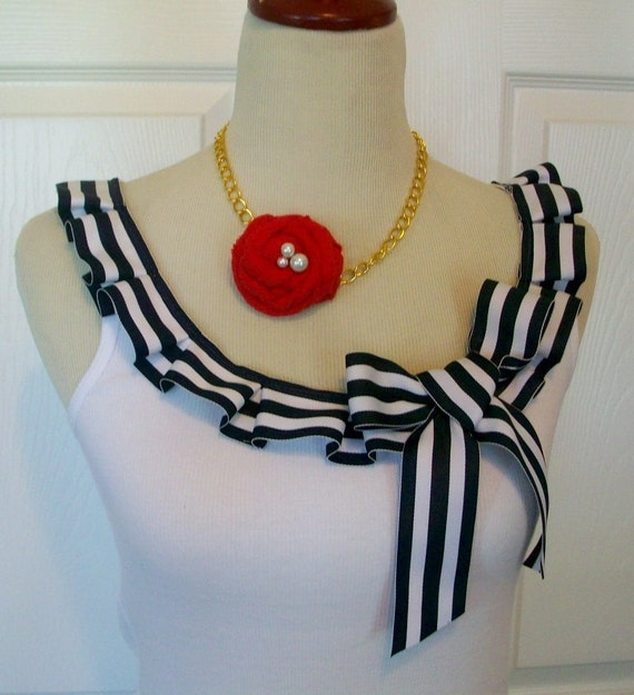Special Listing Embellished Tank Top with Fun Nautical Sailor Navy and White Box Pleat Ruffle and Bow