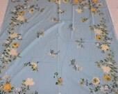 50s Aqua Cottage Chic Tablecloth PLUS Eight Napkins  Floral Beachhouse