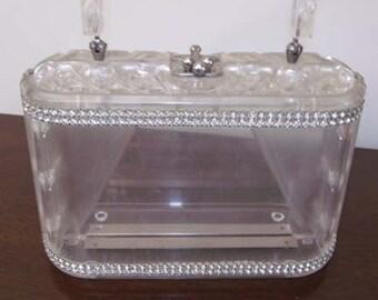 1950s Lucite Rhinestone Box Purse Bridal Purse
