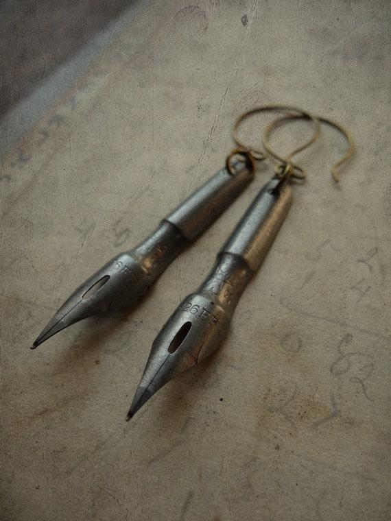 Repurposed Antique Pen Nib Earrings - Scribbles No. 025