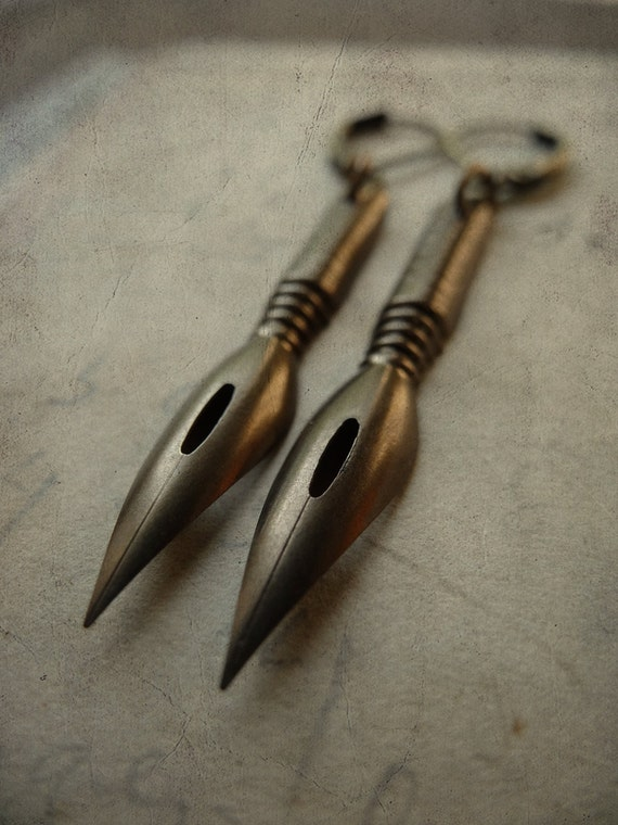Repurposed Antique Pen Nib Earrings - Scribbles No. 029