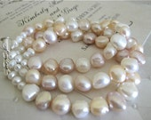 Fresh Water Pearl Pinks & White Three Strand Bracelet - Bridal Jewelry Bride - Sweet Pinks