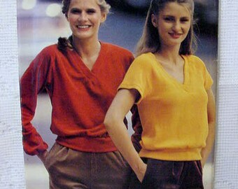 Vintage Butterick See n Sew 6884 Stretch Knit Top UNCUT Sewing Pattern 1980s or 90s Size 8,10