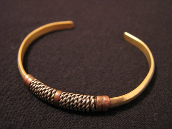 Vintage Tribal Egyptian Mixed Metals Silver Copper Bronze Cuff Bracelet