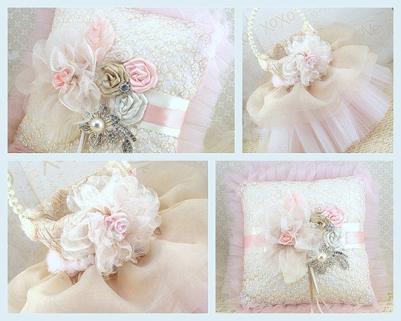Bridal Ring Bearer Pillow and Flower Girl Basket in Blush Pink, Champagne and Ivory with Lace, Organza, Tulle and Crystal Brooch