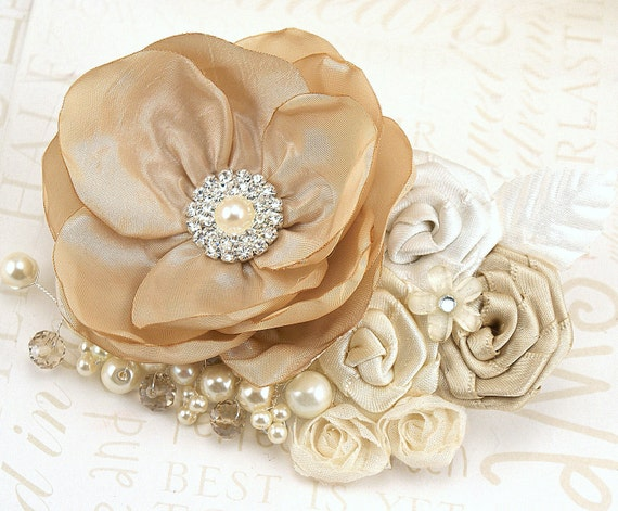 Hair Clip, Tan, Ivory, Cream, Beige, Champagne,Fascinator, Elegant Wedding, Vintage Style,Maid of Honor, Crystals, Pearls, Lace, Brooch