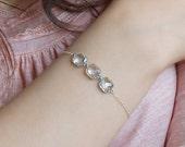 Chain bracelet, Bridal bracelet, Crystal bracelet, Sterling silver bracelet, wedding bracelet, Unique silver jewelry, Clear crystal jewelry