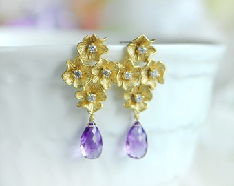 Purple stud earrings, Amethyst earrings, Purple Amethyst earrings, Gemstones purple, Bridesmaids gift, February birthstone