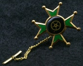Green Steampunk Tie Tack with Gear