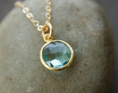 Gold Aqua Quartz Necklace - Round Pendant - Simple Necklace