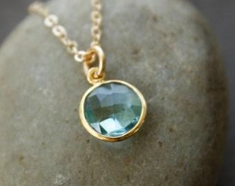 Gold Aqua Quartz Necklace - Round Pendant - Simple Necklace