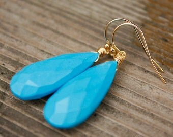 Sleeping Beauty Turquoise Gemstone Earrings - Wire Wrapped Earrings - 14KT Gold Fill