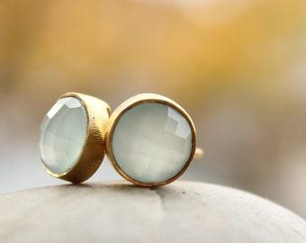 Aqua Chalcedony Gemstone Stud Earrings - Round Post Earrings