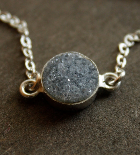 Small Charcoal Grey Druzy Necklace - Sterling Silver - Layering Necklace