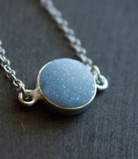 Soft Grey Agate Druzy Necklace - Sterling Silver - Layering Necklace
