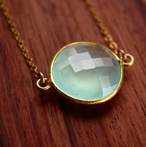 Aqua Chalcedony Necklace - Gold Filled - Bezel Necklace, Sea Foam Green