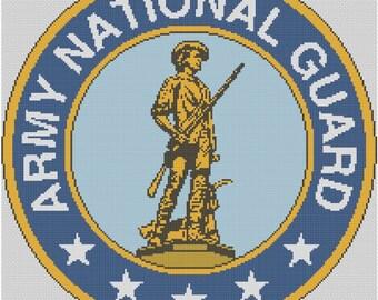 National Guard Logo Cross Stitch Printed Pattern