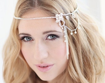 Bridal headdress wedding bridal forehead band browband - Olia design