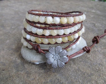 Full Moon Mother of Pearl Beaded Natural  Leather Wrap Bracelet