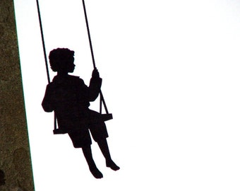 Personalized Stationery - Little Boy Silhouette Note Cards - Swinging - Thank You Notes - Set of 10