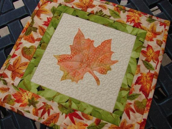 Autumn Fall Batik Leaf Mini Quilt