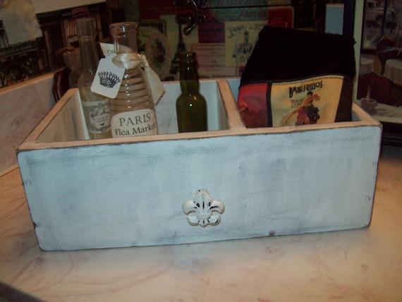 white vintage look drawer storage box fleur de lis knob,Farmhouse decor,French country,French decor,Rustic Home decor,Paris bathroom