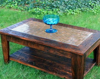 "Copper Mosaic Coffee Table, Reclaimed Wood, Rustic Contemporary, ""Copper Sunset"", Dark Brown Wax Finish - Handmade"