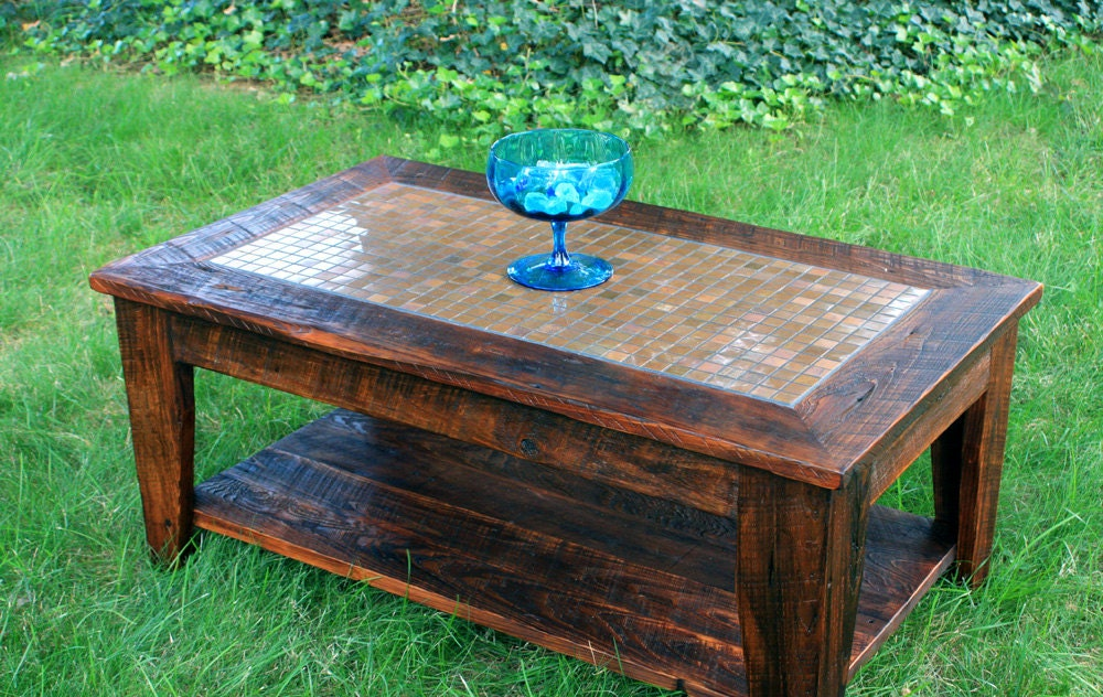 Copper mosaic coffee table reclaimed wood rustic Rustic wooden coffee tables