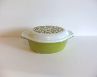 Vintage Pyrex Casserole Dish with Cover Olive Green