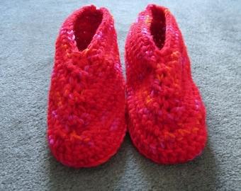 Women's Size 6 1/2 - 7 1/2 Crocheted Slippers, Red Multi
