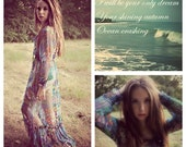 vintage sheer floral bohemian FESTIVAL ETHEREAL airy MAXI dress