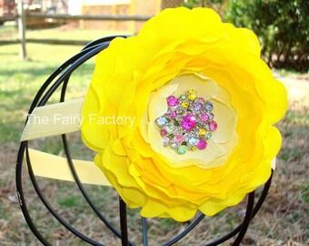 Yellow Flower Headband, Bright Yellow Flower w/ Multicolored Rhinestone Center Headband or Hair Clip, Baby Toddler Child Girls Headband