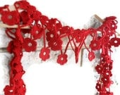 red scarf ,flowers,long warm chic, hand crochet, fall gifts  for women,accessory