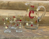 Glass Pitcher and Four Drinking Glasses Set YOUR COLORS THEME