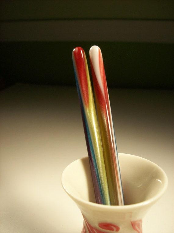 Acrylic hair sticks Rainbow 5 in.