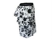 White Black Flowered Pattern Knee High Layered Skirt - Medium to Large (SK101448056)