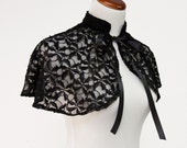 Elegant See Through Black Accent Cape Poinsettia Pattern - One Size Fits Most (CA98885695)