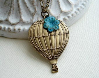 Hot Air Balloon Necklace In Antiqued Brass Air Balloon Pendant Vintage Style Jewelry Flower Necklace, Gift For Her Under 50