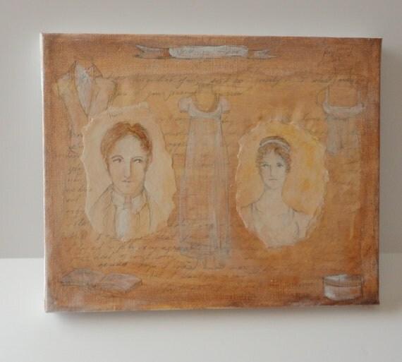 Big SALE was 98 now 30 plus additional 25 percent off,  Northanger Abbey original collage.  8x10. Jane Austen